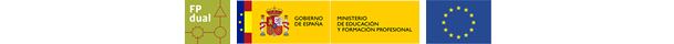 Logos Generalitat, Ministerio de educación, Fondo Europeo, FP Dual